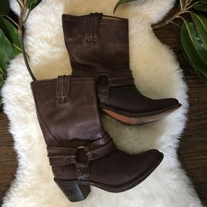 Frye Carmen Harness Short Leather Boots Brown 7.5